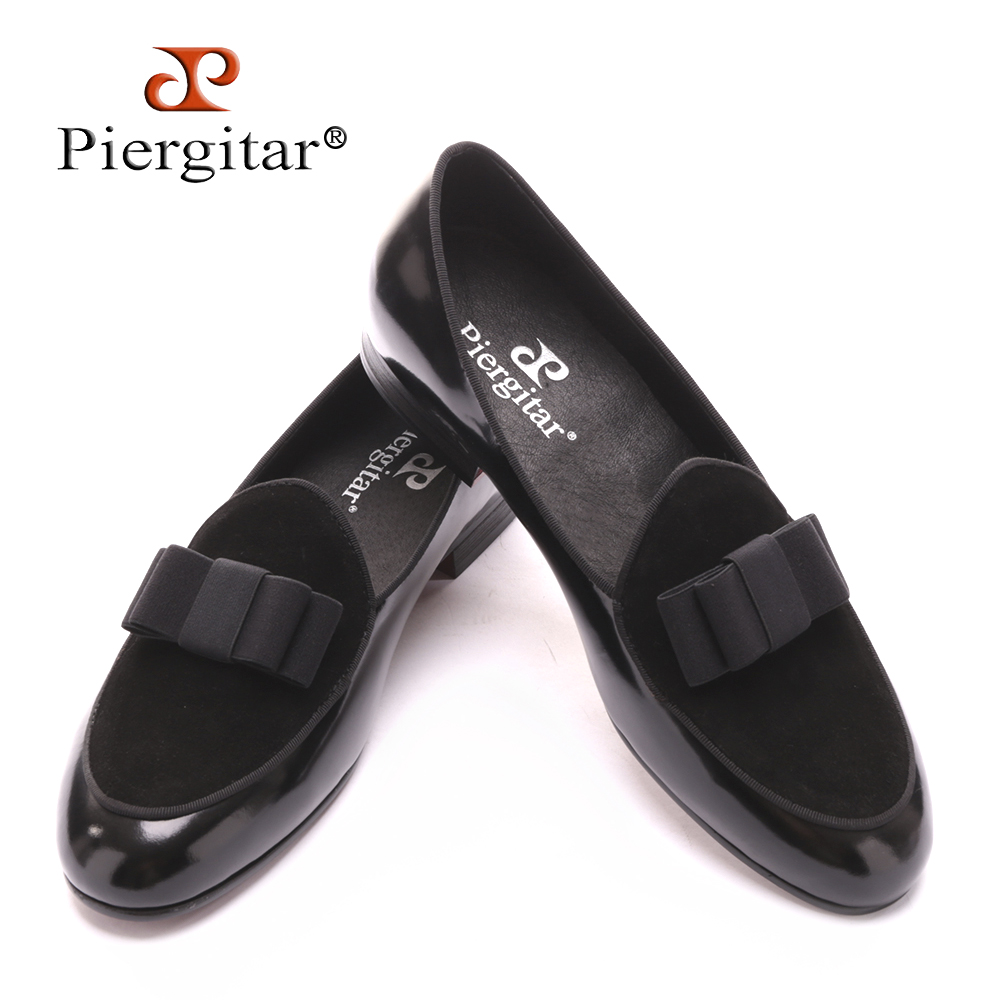 Five color Genuine Leather and Nubuck Leather stitching with Bowtie men handmade luxurious flats Men's banquet classic loafers