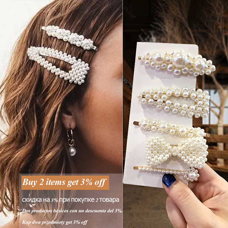 2019 Headwear for Woman Hair Accessories Elegant Korean Style 3 Set Pearl Hair Clips Daily Life Wedding Headpiece