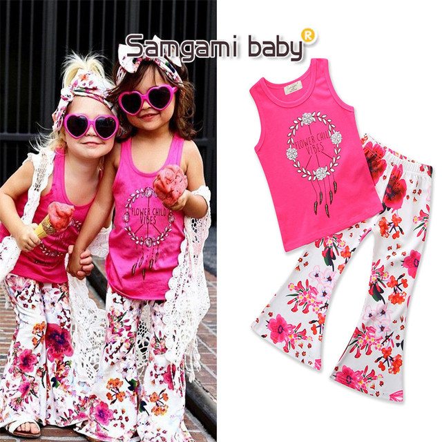 357d6b168239 SAMGAMI BABY Summer Children Toddler Newborn daily Clothes Rose Vest Tops  Floral Pants Trousers 2Pcs Outfit Set Girls Clothing
