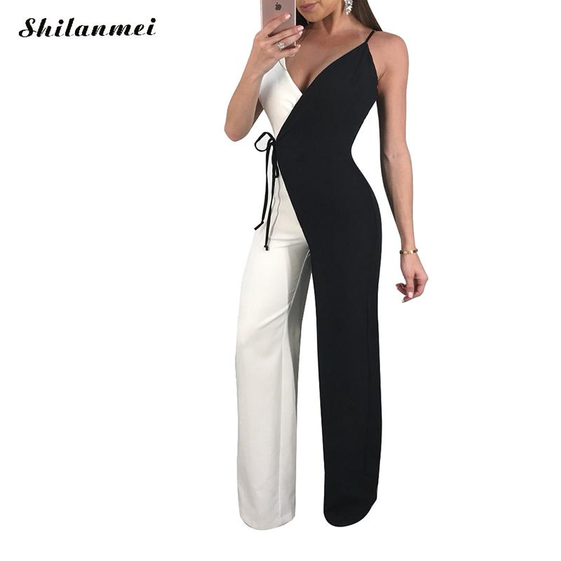 Fashion Slim Patchwork Jumpsuit Sleeveless Bodycon Casual Bodysuit Lace Up Backless Romper Sexy Women Summer 2018 Long Jumpsuits