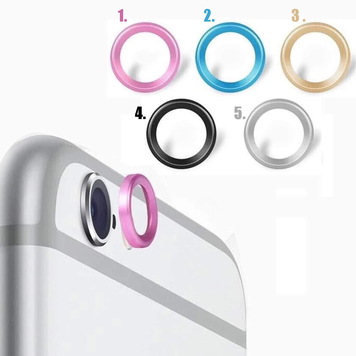 Besegad Metal Rear Camera Ring Guard Circle Cover Lens Protector <font><b>Bumper</b></font> <font><b>Case</b></font> for Apple iPhone X 10 7 7plus 6 6Plus Gadgets image