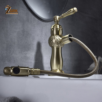 ZGRK Basin Faucets Bath Antique Finish Brass Pull Out Bathroom Basin Sink Faucet Vanity Faucet Wash Mixer Taps Crane SLT140