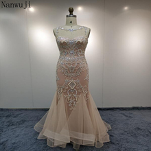In stock Elegant Blush Evening Dresses Mermaid Long Beading Crystals Real Photo Sexy Sheer Neck Prom Party Gowns Robe de Soiree