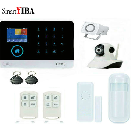 SmartYIBA WIFI GPRS GSM RFID Home Security Alarm System IP Camera Android IOS APP Remote Control French Italy Polish Russian wolf guard wifi wireless 433mhz android ios app remote control rfid security wifi burglar alarm system with sos button