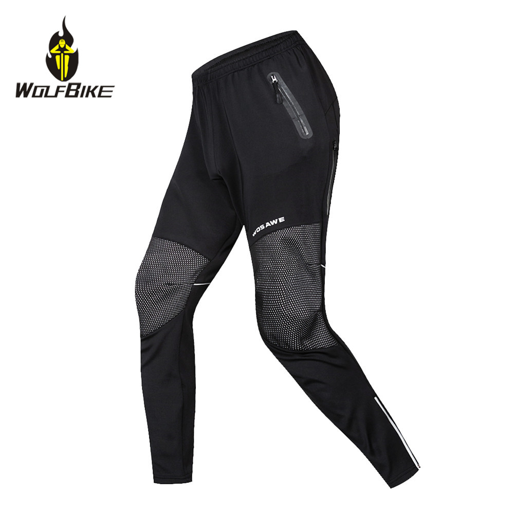 WOLFBIKE Winter Men Cycling Pants Thin Thermal Fleece Reflective Water Repellent Bike Clothing Windproof Outdoor Sports Trousers