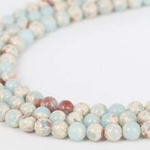 Singreal Snakeskin Aqua Terra China Shoushan Loose Beads Blue Color Round Spacer Beads for DIY Jewelry Bracelets(China)
