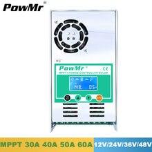 Powmr mppt controlador de carga solar 60a 50a 40a 30a retroiluminação lcd 12v 24v 36 48v regulador solar para max 190v entrada do painel solar