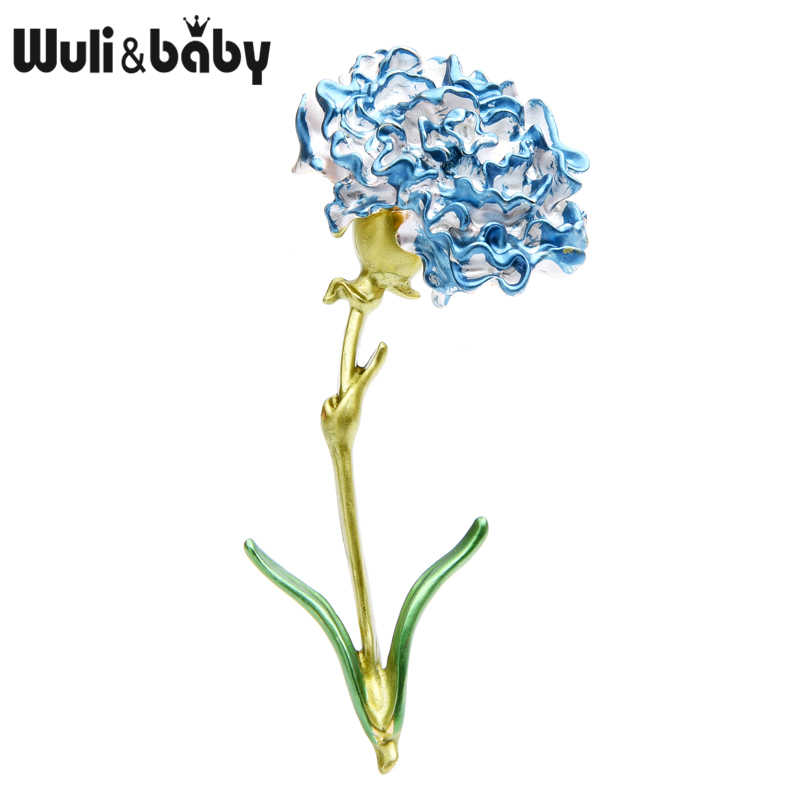 Wuli Bayi Berwarna Merah Muda Biru Carnation Bunga Bros untuk Wanita Alloy Besar Enamel Bunga Pesta Pernikahan Bros Pin Ibu hadiah