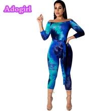 Sexy Tie Dyeing Print Sexy Slash Neck Midi Jumpsuit Woman 3/4 Sleeve Bodycon Skinny With Belt Night Club Stretchy Playsuit