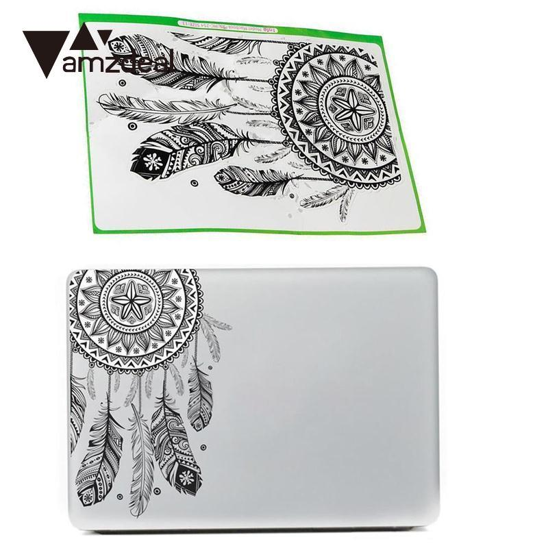 amzdeal Retro Feather Art Pattern Vinyl Decal Black Laptop Sticker For Macbook Air Laptop
