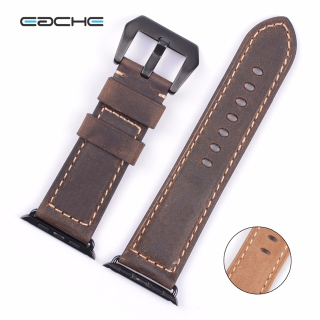 Eache 42mm genuino crazy horse leather reemplazo de la correa de ajuste para apple adaptador de correas con siliver negro marrón amarillo