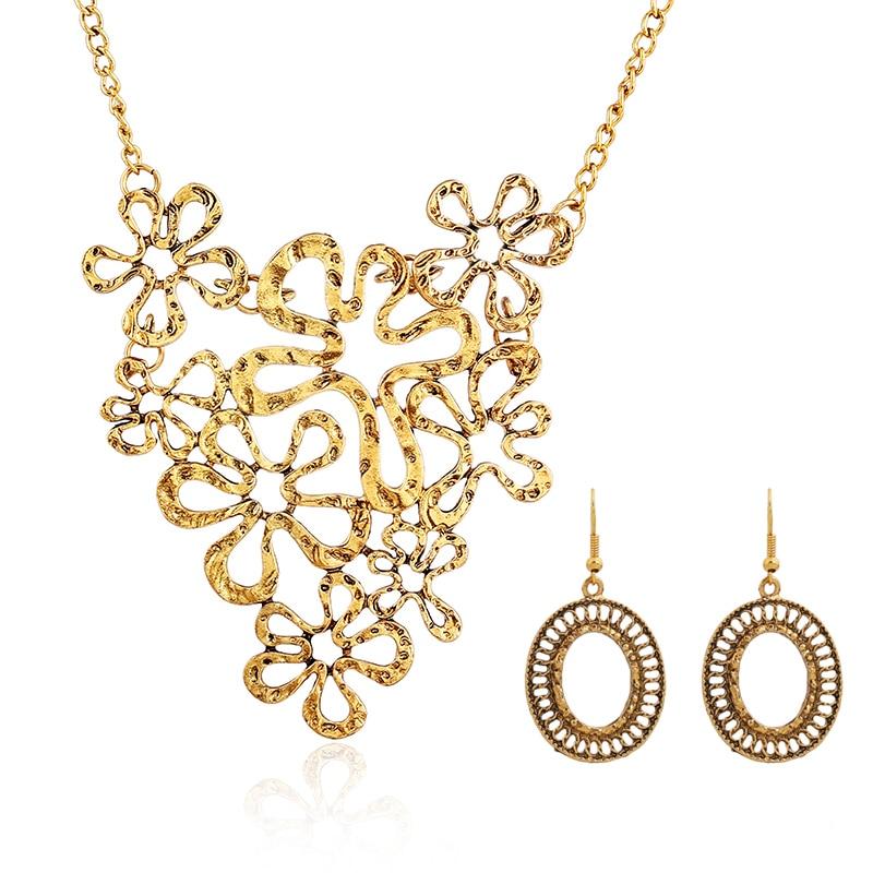2015 Latest Fashion Popular Design Fake Antique Gold Necklace Set ...