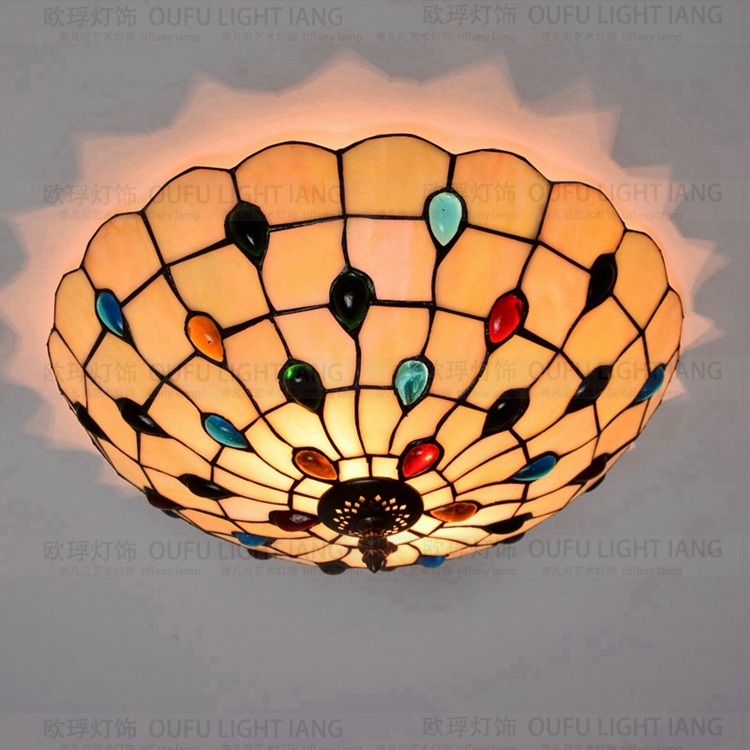 Mediterranean crystal stained glass tiffany Ceiling lights 40/50cm AC 110-240V bulbs suspension lamp bedroom lightingMediterranean crystal stained glass tiffany Ceiling lights 40/50cm AC 110-240V bulbs suspension lamp bedroom lighting