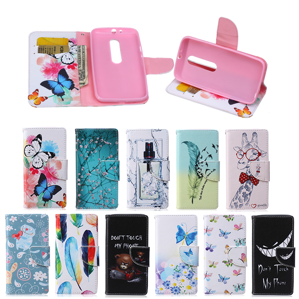 Case For Motorola MOTO G 3rd Gen G3 G 3 G 2015 XT1541 XT1542 XT1543 Duplex Painting TPU Box Magnetic Flip Phone Leather Cover