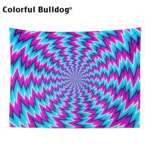 Image 2 - פסיכודלית שטיח גיאומטרי גל זגזג קיר תלוי אתני היפי דקור בית חווה כתום סגול אתני כחול ורוד שמיכה
