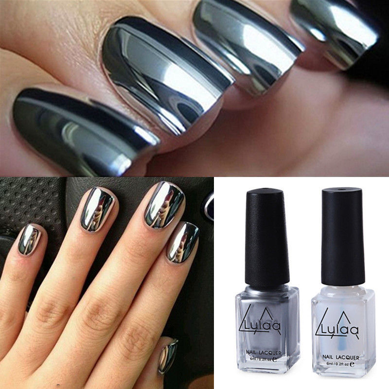 2Pcs Gloss Effect Chrome Metallic Silver Nail Art Varnish Polish ...