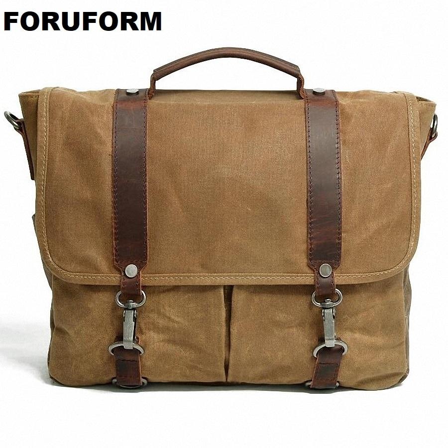 Waterproof Canvas Casual Crossbody Bag Men Vintage School Messenger Bag Briefcase Shoulder Bag Travel Handbag LI-1939