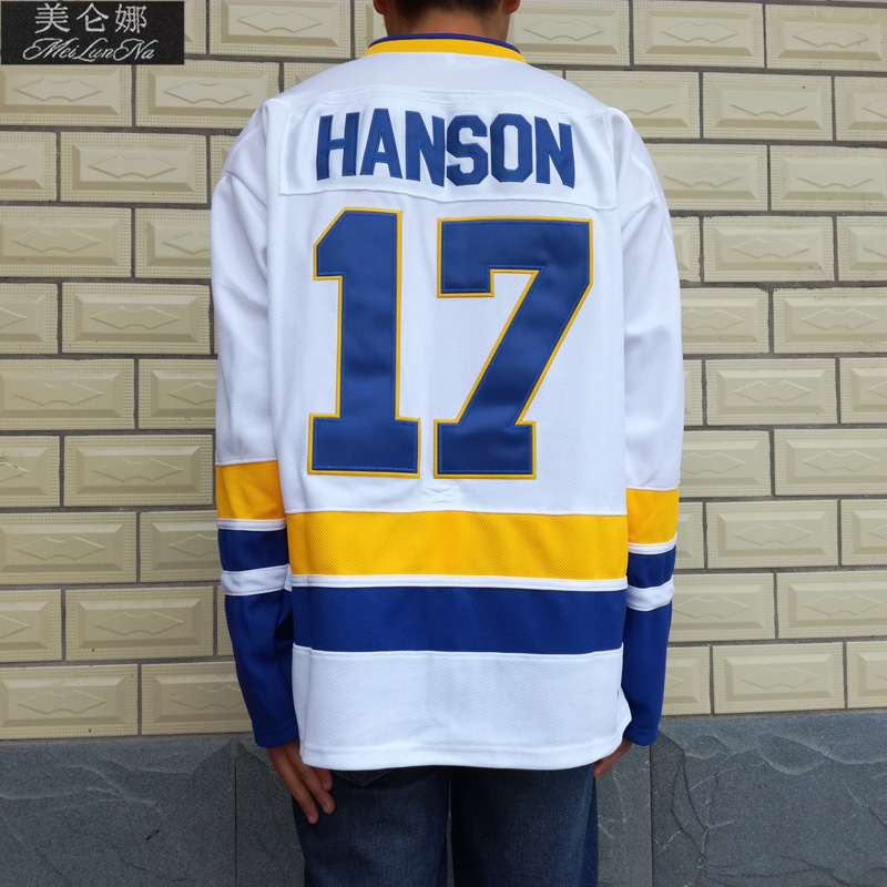 MeiLunNa Christmas Black Friday Slap Shot Charlestown Chiefs Hockey Jerseys #17 Steve Hanson Brothers Jersey White 1702