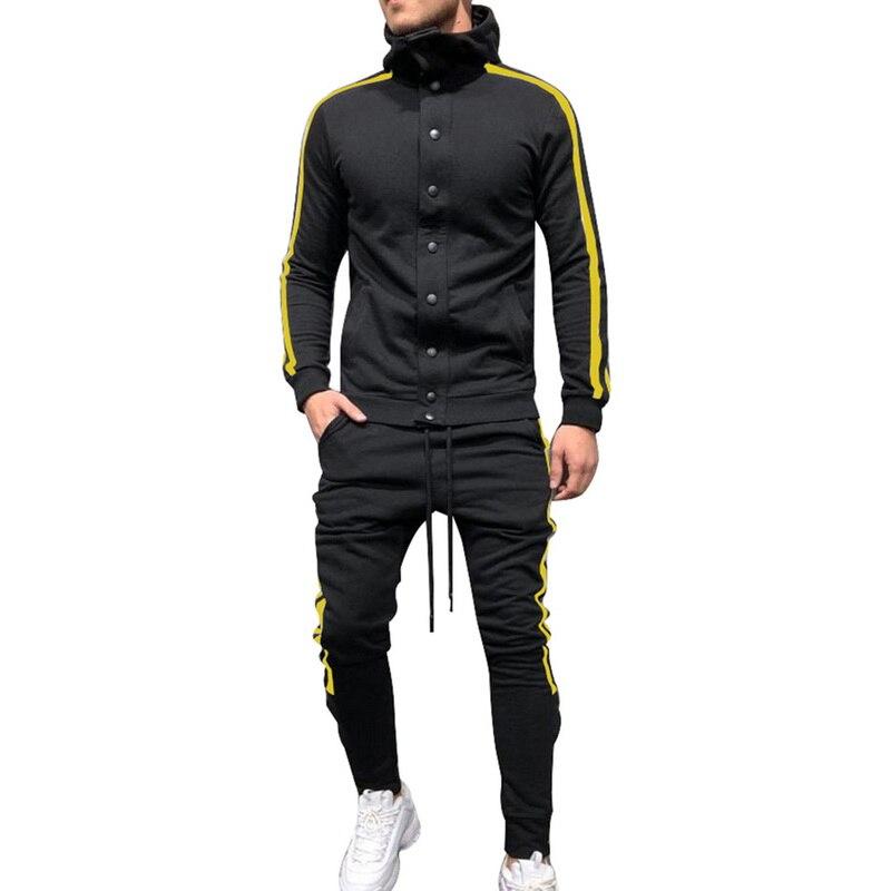 Men' s Hip Hop Sweatsuit Hooded Button Sweatshirt Sides Stipe Fashion Slim Tracksuits 2 piece set Large Sizes Adisputent