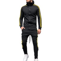 Men' s Hip Hop Sweatsuit Hooded Button Sweatshirt Sides Stipe Fashion Slim Tracksuits 2 piece set Large Sizes Adisputent