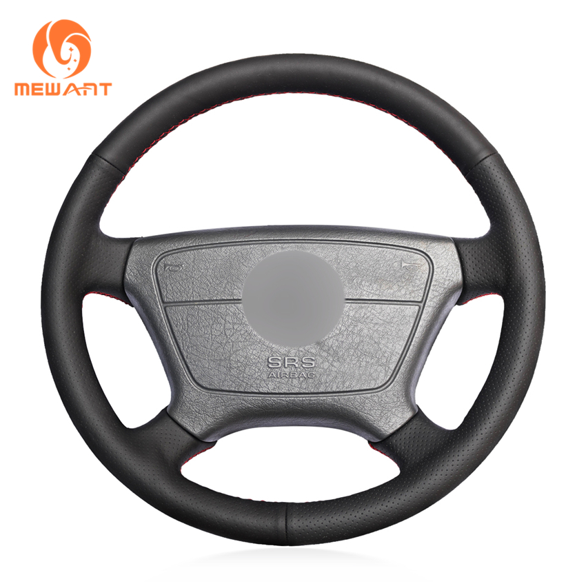 Black Artificial Leather Car Steering Wheel Cover for Mercedes Benz W210 E Class E200 240 280 320 1995 2002 W140 S320 350 420