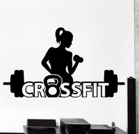 Sport Crossfit Girl Barbell Dumbell Fitness Vinyl Wall Decal Active Woman Mural Wall Sticker Fitness Centre Room Home Decoration