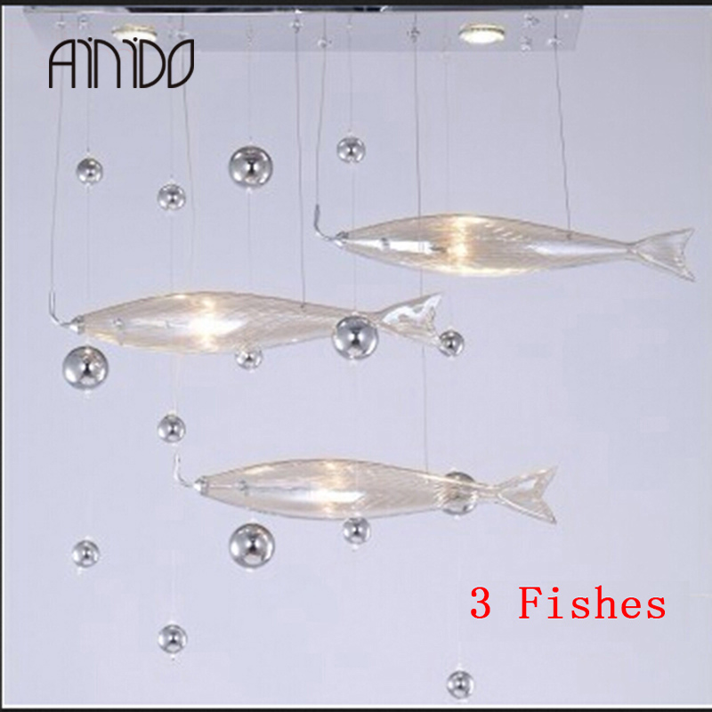 New Brief Modern Living Room Fishes Crystal Lamp Pendant Light Fashion Bar Lamps 3