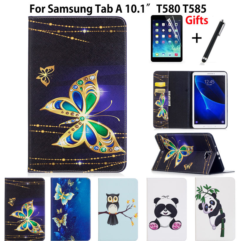 Slim Panda Owl Pattern PU Case For Samsung Galaxy Tab A A6 10.1 2016 SM-T580 T585 T580 T585N Cover Funda Tablet Skin+Film +Pen аксессуар чехол samsung galaxy tab a 7 sm t285 sm t280 it baggage мультистенд black itssgta74 1