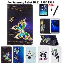 Delgado Panda Búho Patrón Caja de LA PU Para Samsung Galaxy Tab Un A6 10.1 2016 SM-T580 T585 Cubierta Funda T585N T580 Tablet Piel + Film + pluma