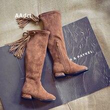 AAdct/осень 2018; новые высокие сапоги принцессы для девочек; модные детские ботинки; брендовые классические детские ботинки на высоком каблуке с кисточками
