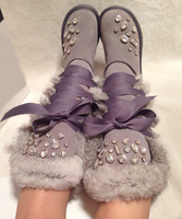 Zobairou New Design Velvet Leather Shoe Flash Diamond Lace Up Winter Warm Shoes Flat Botas Rubbit Fur Snow Knee High Boots Women