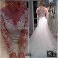 Hot Sale Long Sleeve Lace Appliqued A line Floor Length Princess Bride Dresses Cheap Wedding Gowns 2016