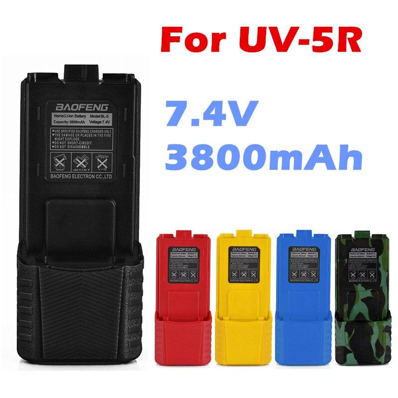 Baofeng uv-5r batterie bl-5l étendue 3800 mah 7.4 v li ion batterie rechargeable batterie pour uv-5r bf-f8 radio 5 couleurs option