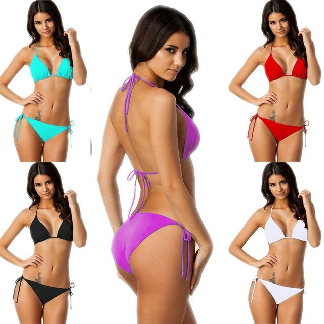 8c5109bc3b7c Comprar Conjunto de Bikini brasileño Push Up Sexy para mujer, Tanga ...