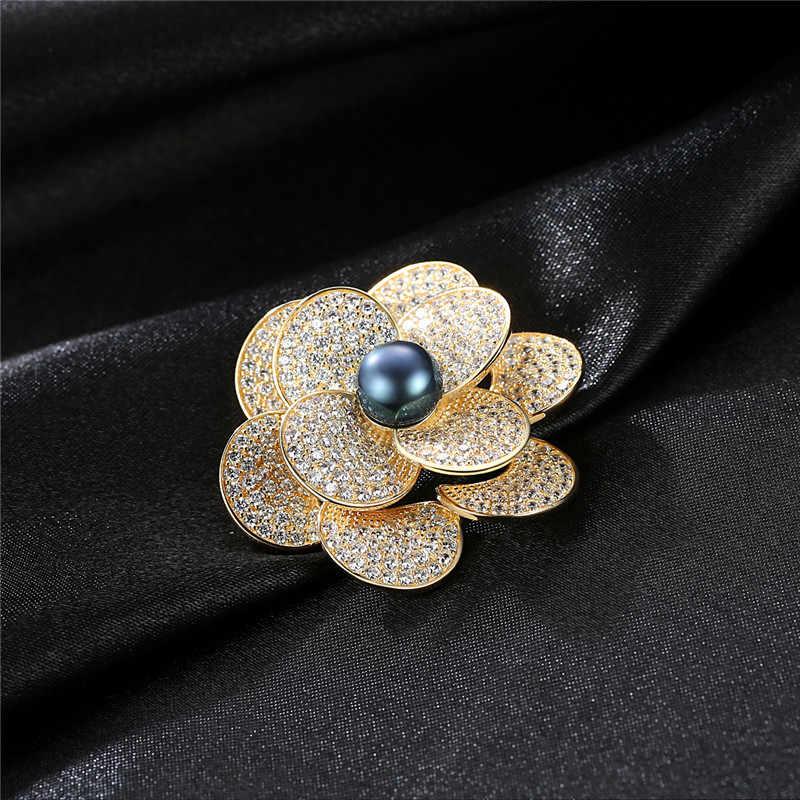 Mewah Indah 100% 925 Sterling Silver Mekar Bunga Bros untuk Wanita Perjamuan Pernikahan Bros Hadiah