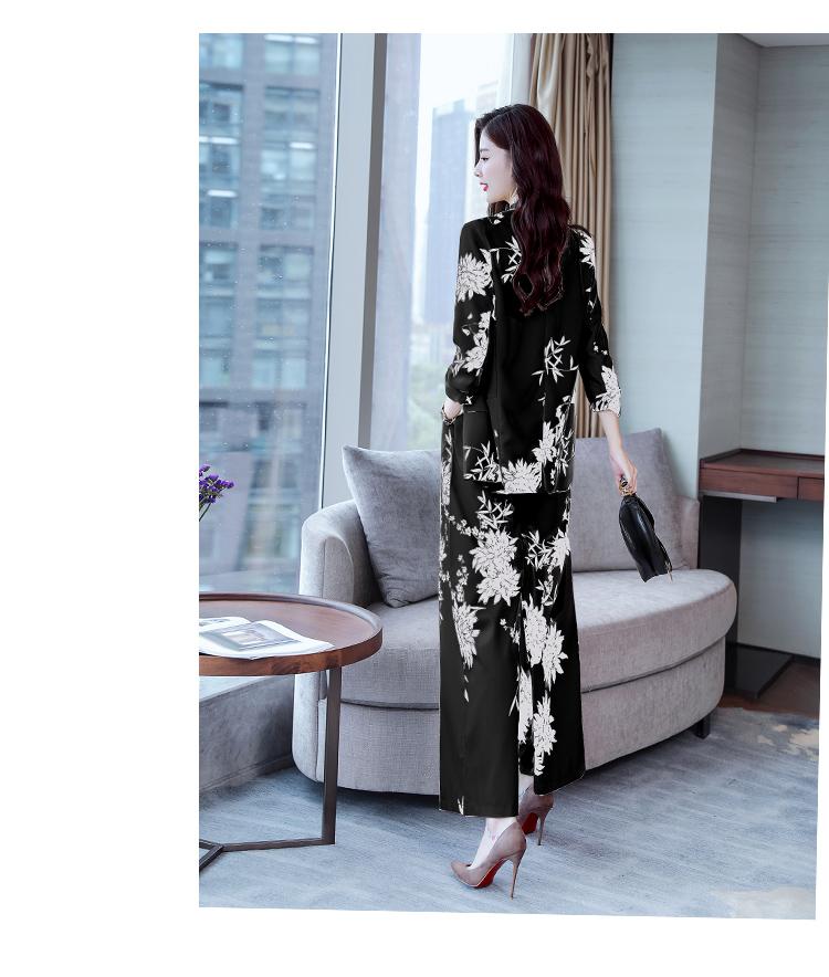 YASUGUOJI New 2019 Spring Fashion Floral Print Pants Suits Elegant Woman Wide-leg Trouser Suits Set 2 Pieces Pantsuit Women 30