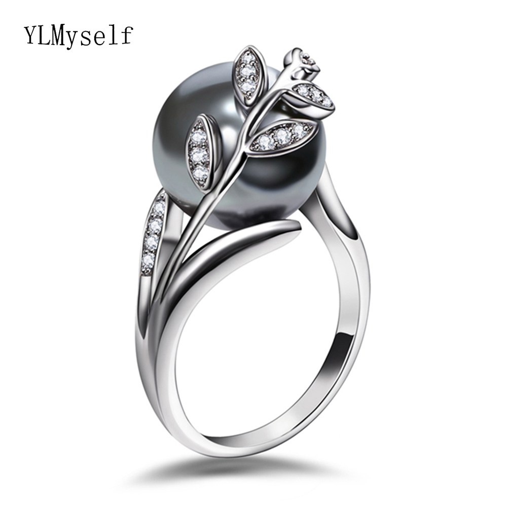 Anel de ouro rosa com pérola cinza para as mulheres folha na moda jóias dropshipping anel anillos aneis bagues femme statement jóias
