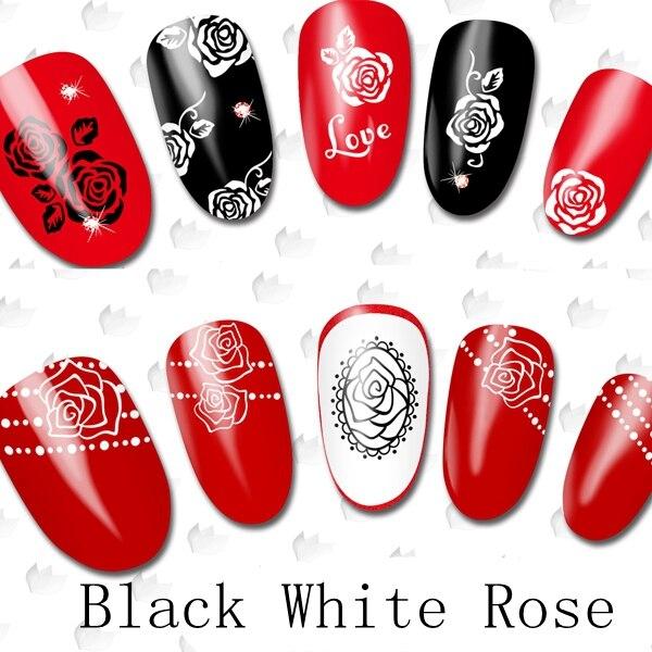 22 Designs Black White Rose Flowers Nail Art Wraps Water Transfers