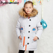 2017 New Long Winter Children Girls Down Coats Girls Jackets And Coats With Hoods Fashion Down Kids Jackets For Girls Outerwear цены онлайн