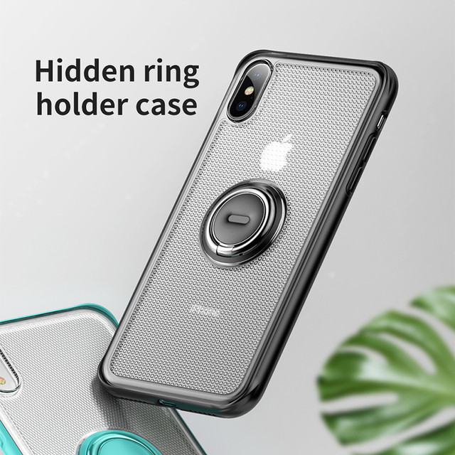 Baseus iPhone XS XR XS Max Ring Holder Magnetic Car Holder Stand Matte Back Case Cover