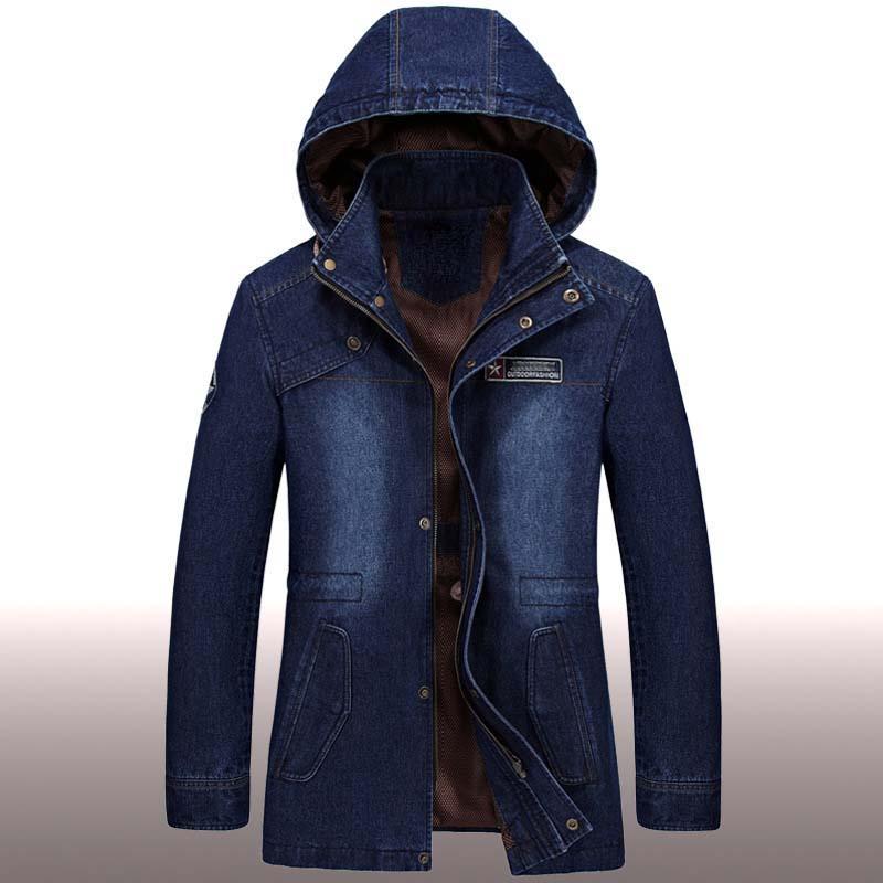 Autunno Inverno Cowboy Cappotto Degli Uomini Giacca di Jeans Del Ricamo Con Cappuccio Denim Trench Big Size Cotone Sciolto Giacca A Vento Maschile Vestiti-in Giacche da Abbigliamento da uomo su  Gruppo 1