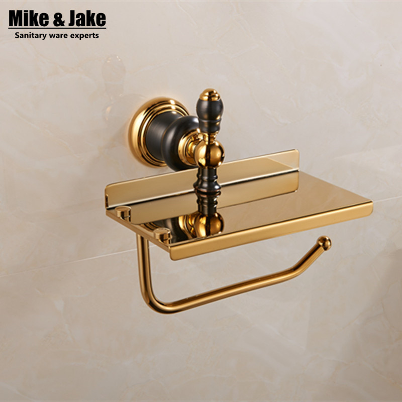 где купить Luxury golden paper holder with plate holder Brass Golden Finished Bathroom paper rack shelf wall toilet paper Holder,Towel bar по лучшей цене