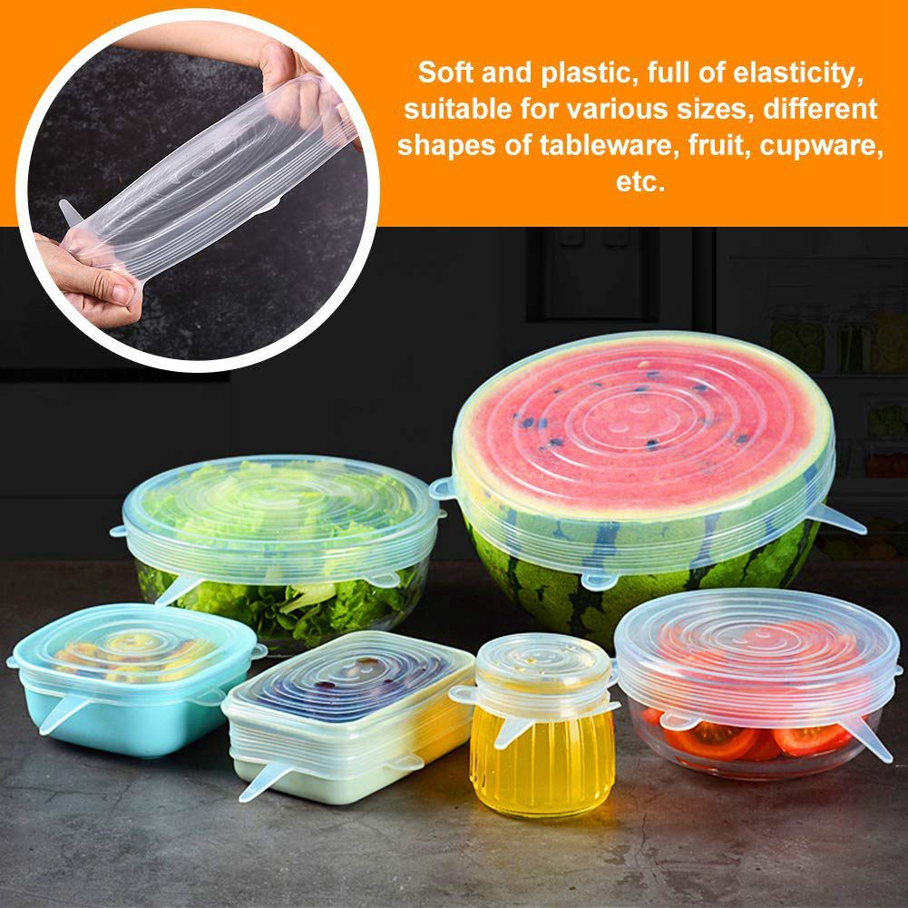 Image 5 - Silicone Stretch Lids, 12 Pack to Keeping Food Fresh, Reusable, Durable and Expandable to Fit Various Sizes for Bowl Covers, P-in Fresh-keeping Lids from Home & Garden