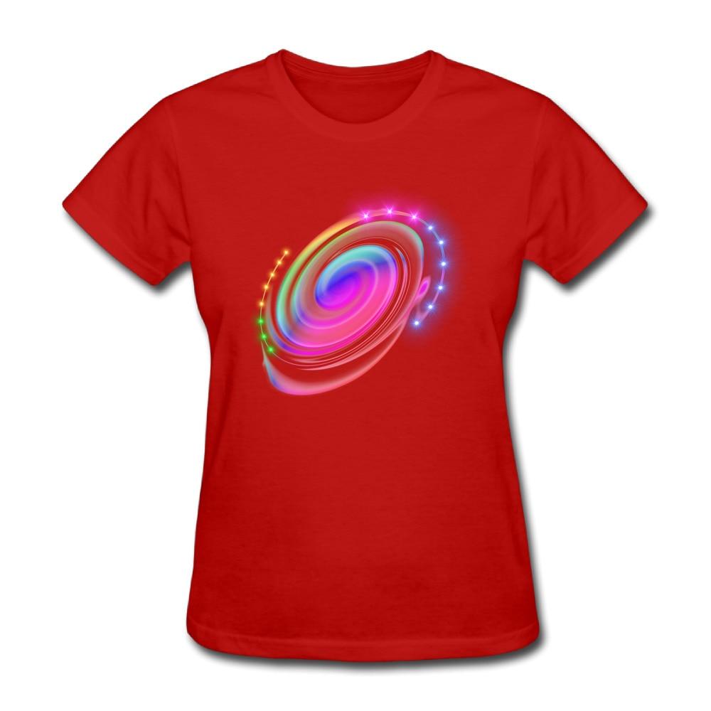 Color Effects Custom Cotton Print O-Neck Short Red T Shirts Lady Punk T shirt Feminina