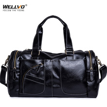 New Trend Men PU Leather Big Training Bag Gym Bags Large Black Fitness Tote Travel Duffle For Male Shoulder XA185ZC