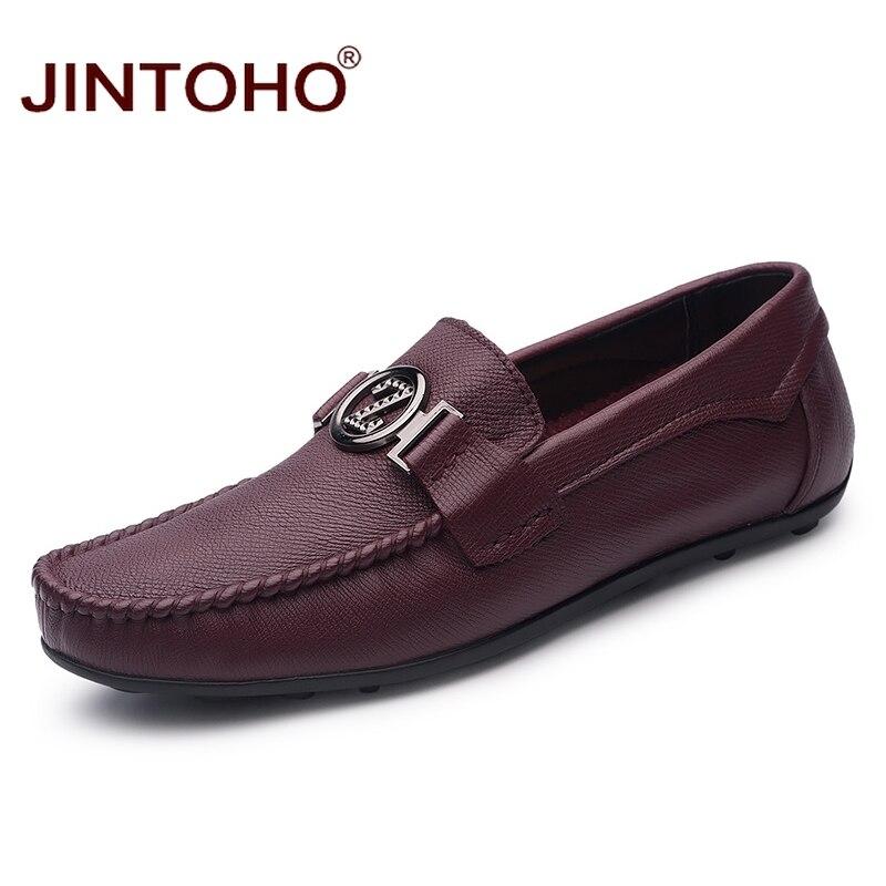 JINTOHO Brand Men Shoes Fashion Designer Men Leather Shoes Casual Male Shoes Slip On Mens Leather