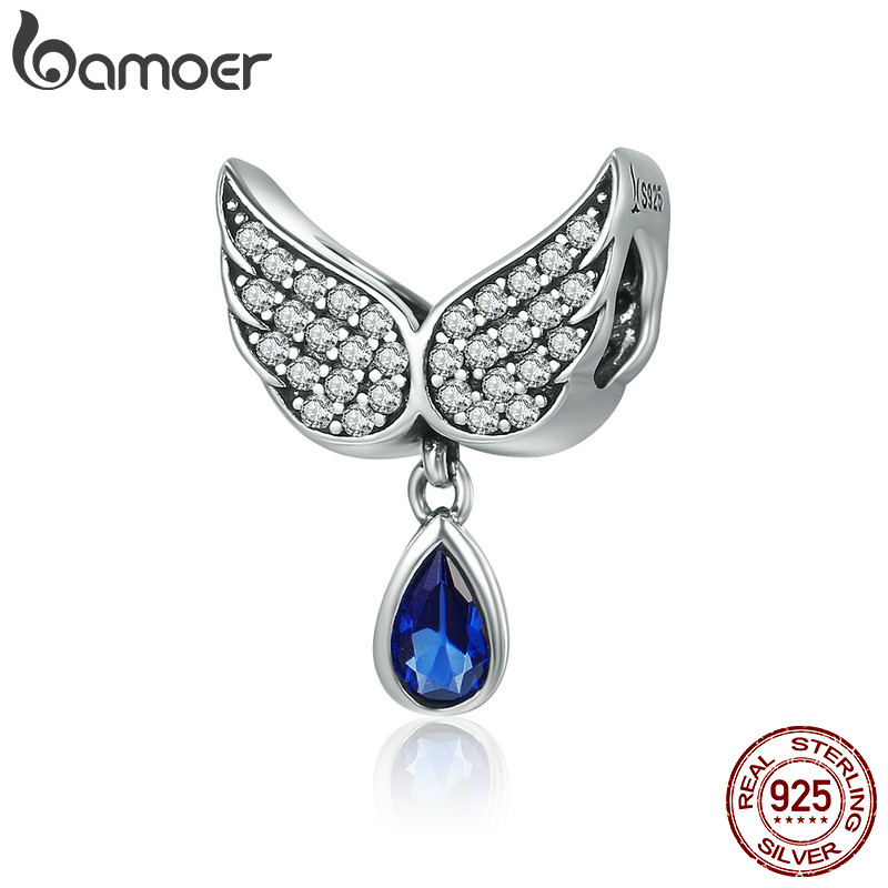 BAMOER Hot Sale Authentic 925 Sterling Silver Angel Wings Feather Pendant Charm fit Women Bracelet amp Necklace Jewelry SCC481 925 sterling silver zircon pendant silver angel wings