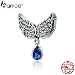 BAMOER Hot Sale Authentic 925 Sterling Silver Angel Wings Feather Pendant Charm fit Women Bracelet amp Necklace Jewelry SCC481
