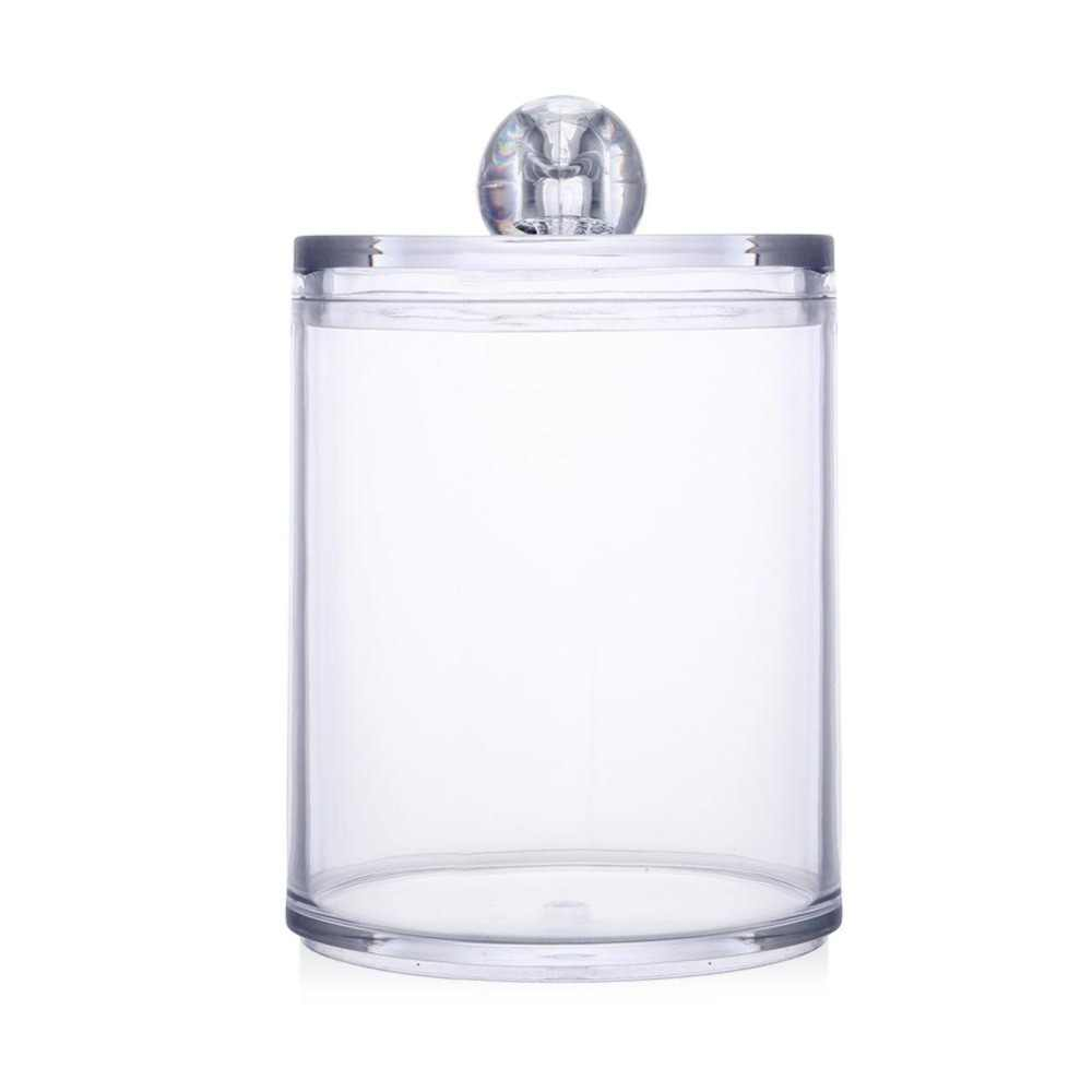 Acrylic Makeup Organizer Round Jars Qtip Container Transparent Cotton Swabs Box Jewelry Storage Box Holder Candy Jar