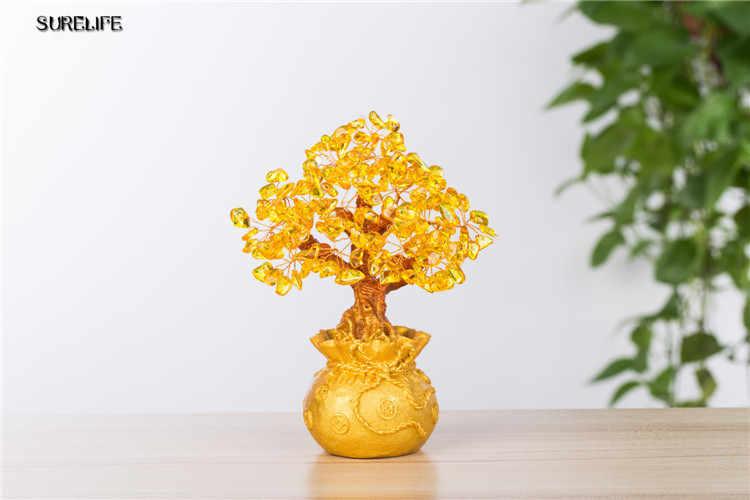 شجرة صغيرة من الكريستال المال فنغ شوي التقليدية جلب الحظ الثروة ديكور المنزل مصغرة التماثيل هدية حفلة كريستال شجرة المال